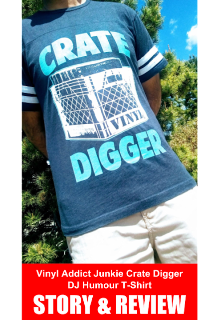 """Vinyl Addict Junkie Crate Digger DJ Humour T-Shirt on Zazzle - An outdoor picture of a person wearing a cool DJ T-shirt that says """"Crate Digger."""""""