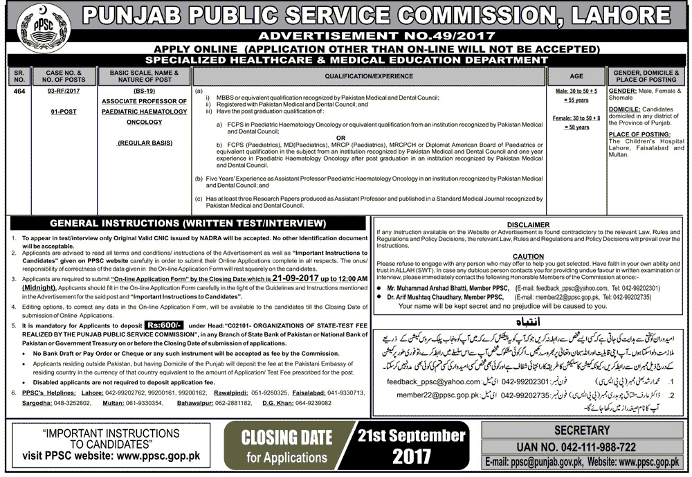 Jobs In  Punjab Public Service Commission PPSC Sep 2017