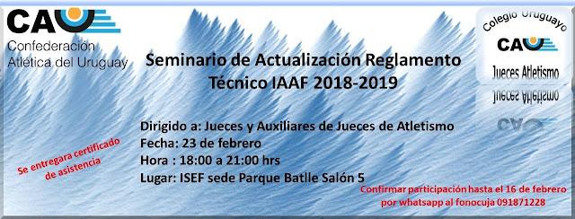 Seminario de actualización del reglamento IAAF para jueces (ISEF Montevideo, 23/feb/2018)