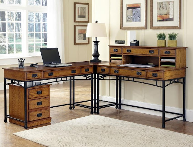 solid wood home office desk placement ideas
