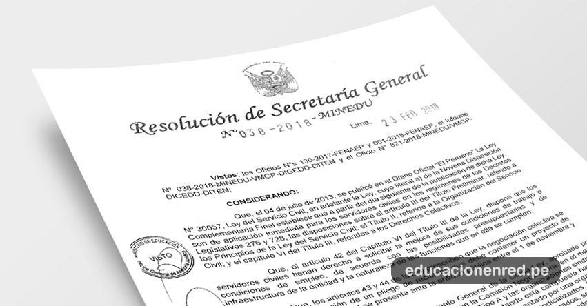 R. S. G. N° 038-2018-MINEDU - Conforman Comisión Negociadora del Pliego de Reclamos de la Federación Nacional de Auxiliares en Educación del Perú - FENAEP - www.minedu.gob.pe