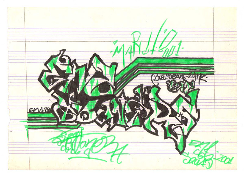 Ena Tooners Black and Green Throw Up Style Drawing made with Markers. Original naive, vintage graffiti sketch on copy paper by Kostas Gogas (akney), signed as Kent from his first Folder, 2001. ENA graffiti crew.