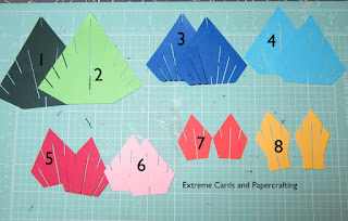 cut out pieces of sliceform Christmas tree pop up card