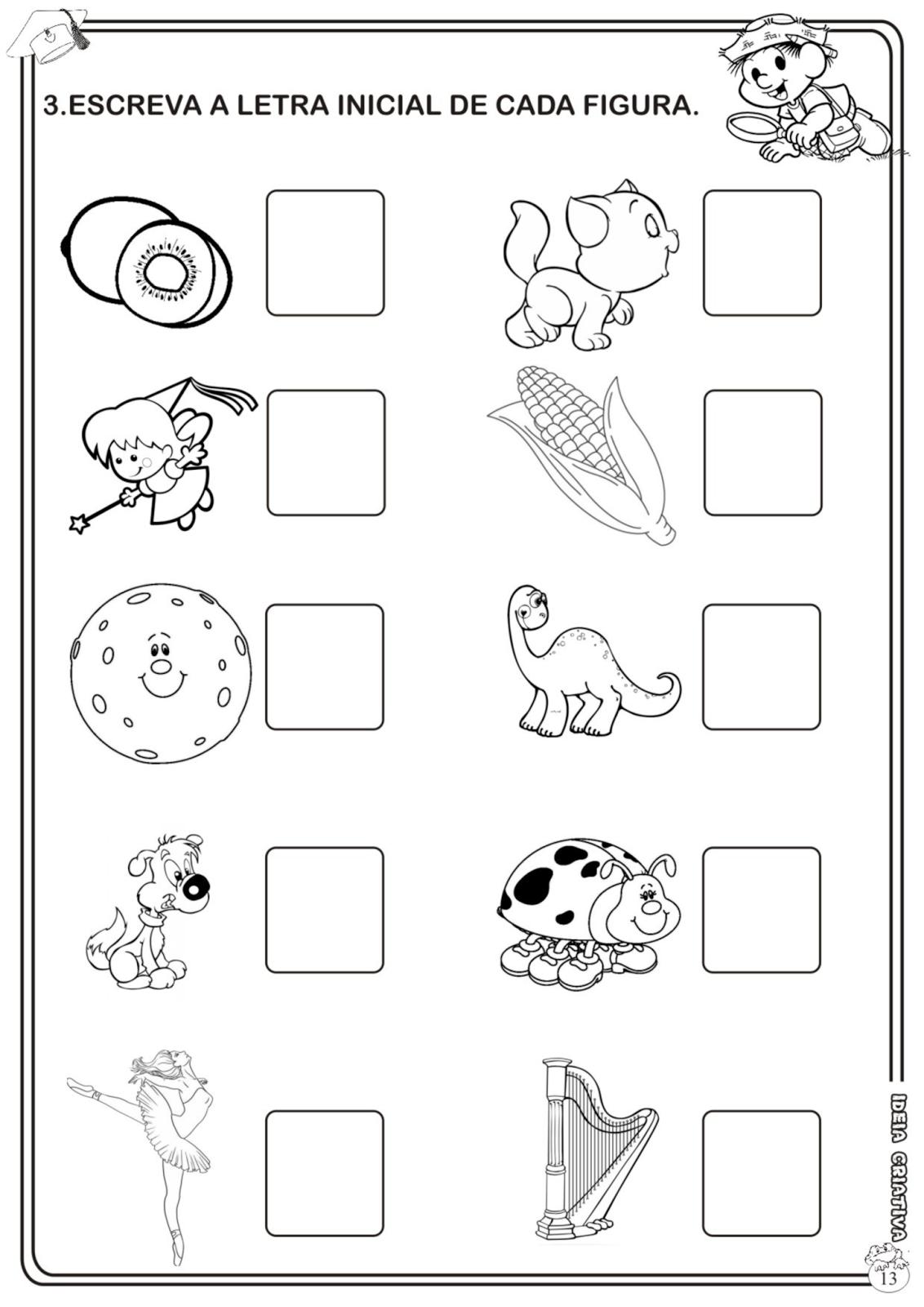 Atividade Avaliativa Educacao Infantil Linguagem Com A Turma Da Monica Ideia Criativa