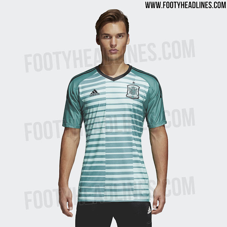 The new Spain 2018 World Cup goalkeeper home kit features a fresh color  scheme. It was released together with the players home kit. +2 9be3481dd