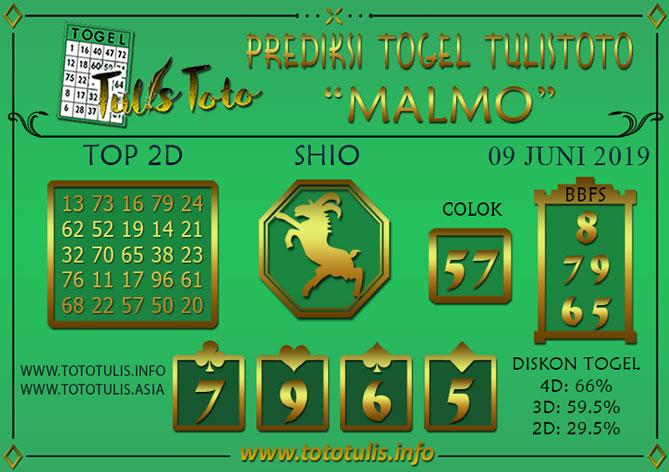Prediksi Togel MALMO TULISTOTO 09 JUNI 2019