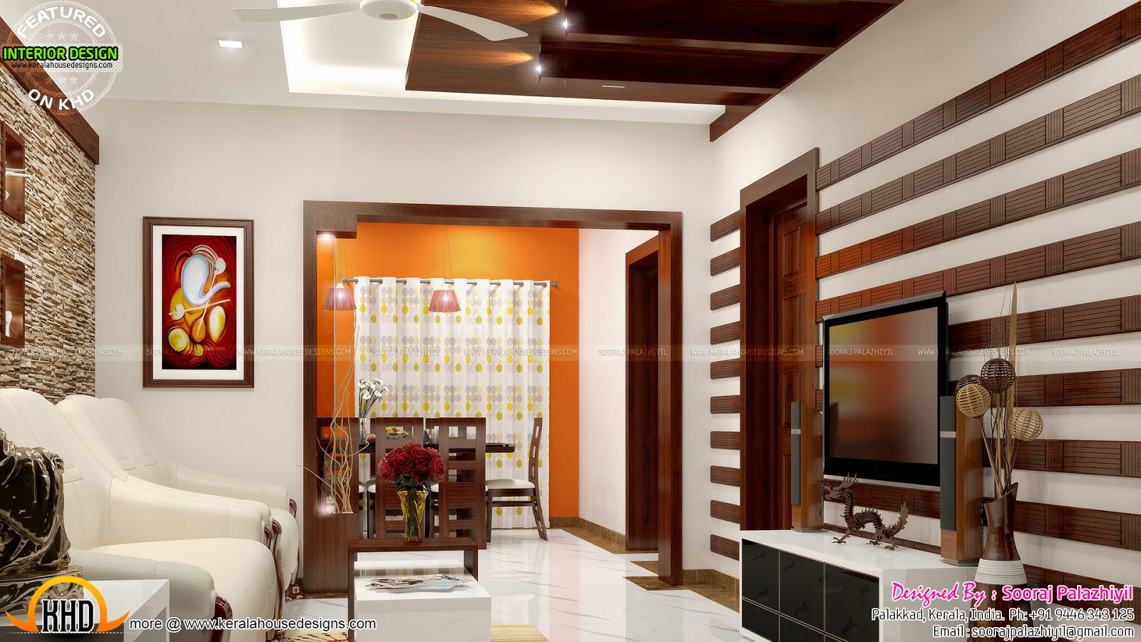 Simple apartment interior in kerala kerala home design for Interior decoration living room roof