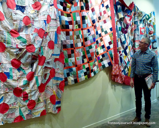 Quilt tops from Found Made, a quilt exhibit curated by Rod Kiracofe at the San Jose Museum of Quilts and Textiles