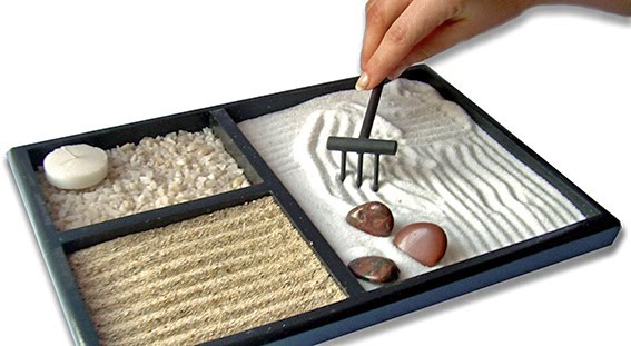 Septima pagina hecho con arena de playa Jardin zen casero