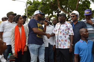 Mombasa Governor Hassan Joho, Women rep. Aspirant Sadaf Deen with Nyali MP Hezron Awiti. PHOTO | Courtesy MPCU
