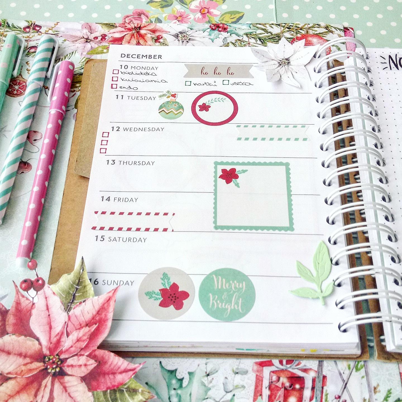 planer na grudzień, planer tygodniowy, planer grudniowy, planer świąteczny, planer w zeszycie, planer, plan na tydzień