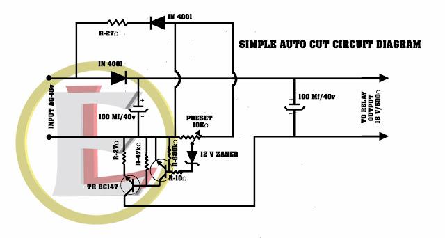 SIMPLE AUTO CUT CIRCUIT DIAGRAM