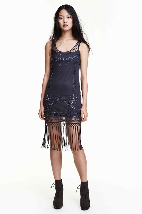 vestido azul flecos
