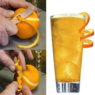 Tips de decoración de tragos con cítricos espiral naranja