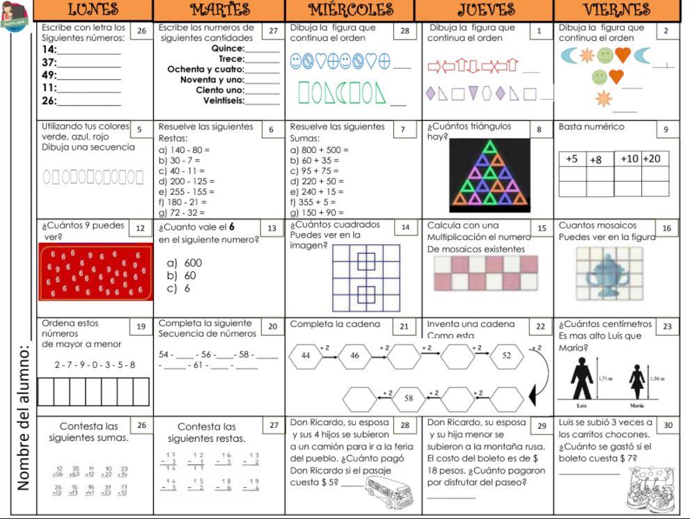 Calendario Matemático Bloque 4 para 2º Segundo Grado - Mi Salón de ...