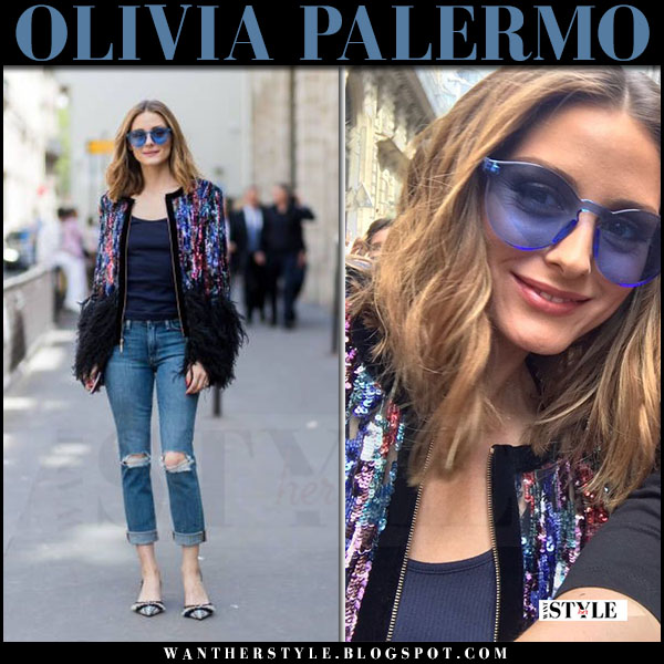 Olivia Palermo in sequin elie saab jacket, ripped jeans and blue sunglasses rumba time what she wore july 5 2017 paris fashion week