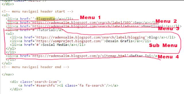 Cara Edit Menu Navigasi Template Blog