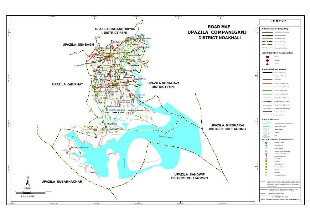 Companiganj Upazila Road Map Noakhali District Bangladesh
