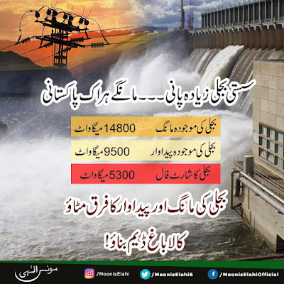 Power demand and production gap is due to less Hydro Power Generation. Kala bagh Dam is the best solution.