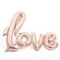 ballon love rose gold metalise vegaoo party