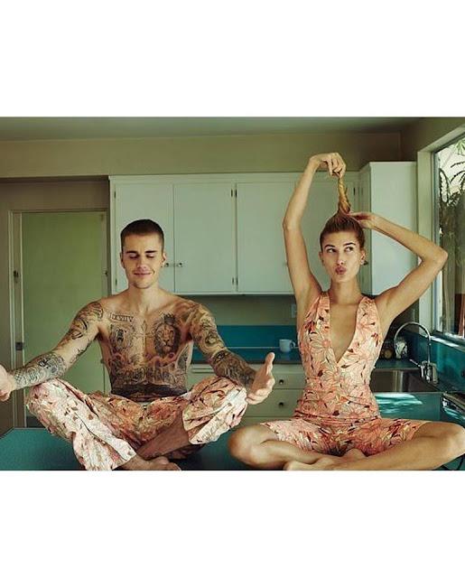 """جاستن بيبر مع زوجته هايلي بيبر في جلسة تصوير جديدة لصالح مجلة """"Vogue"""" العالمية"""