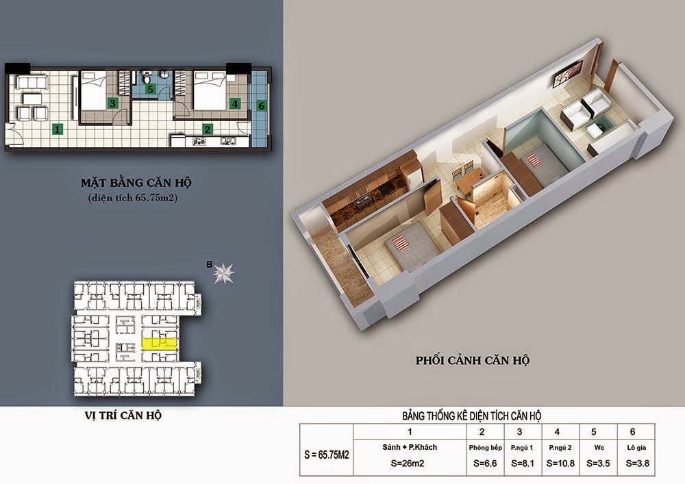 Thiết kế căn hộ 65,75m2