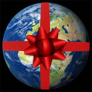 Planet Earth wrapped as a Christmas present