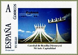 Sello personalizado de FILATEM 2010, con la catedral de Brasilia del arquitecto Niemeyer