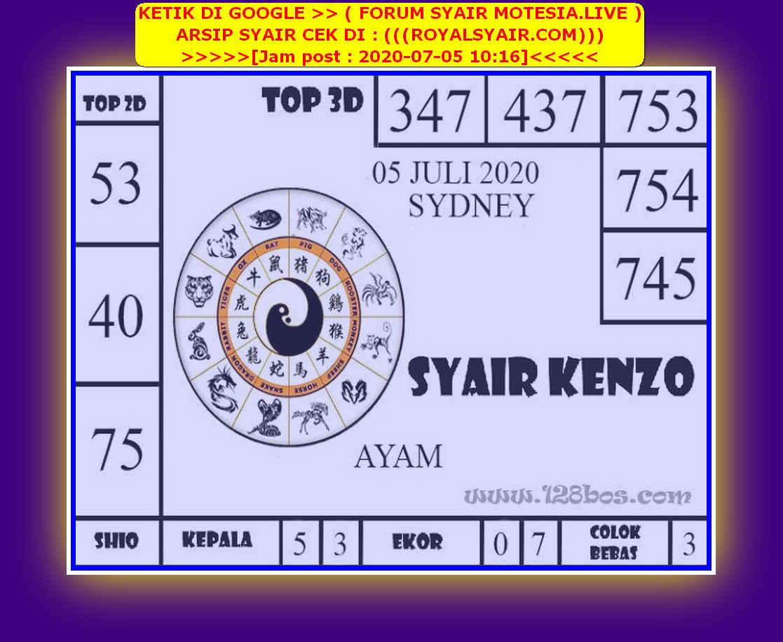 Kode syair Sydney Minggu 5 Juli 2020 96