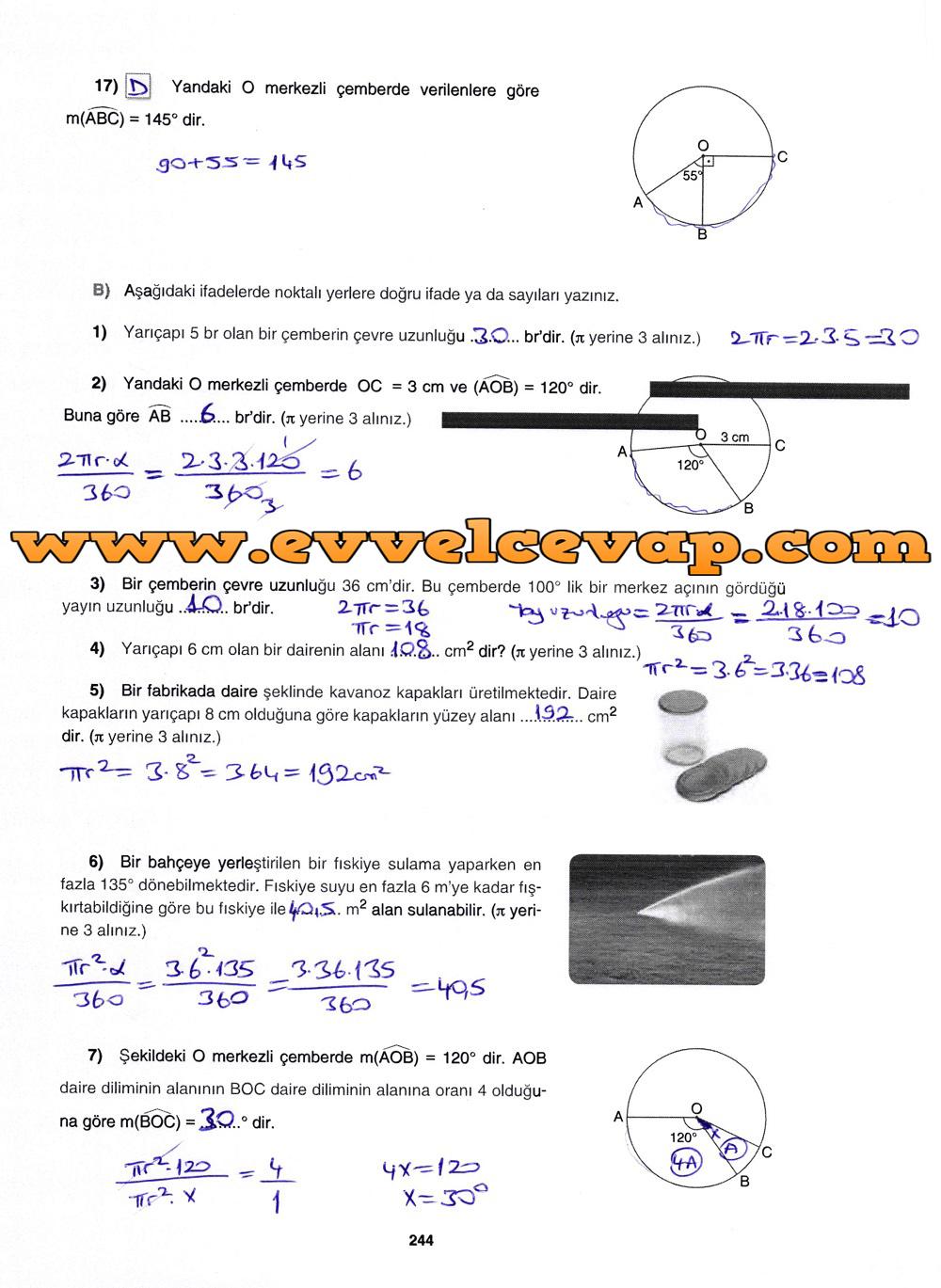 7. Sınıf Gizem Yayınları Matematik Ders Kitabı 244. Sayfa Cevapları 4.Ünite Değerlendirme Çalışmaları
