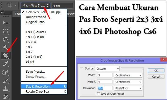 Cara Membuat Ukuran Pas Foto Seperti 2x3 3x4 4x6 Di Photoshop Cs6 Gammafis Blog