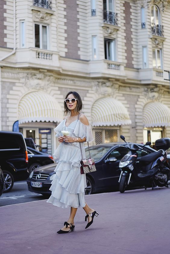 Aimee Song - Off Shoulder Ruffle Tier Dress + Gucci Dionysus Bag