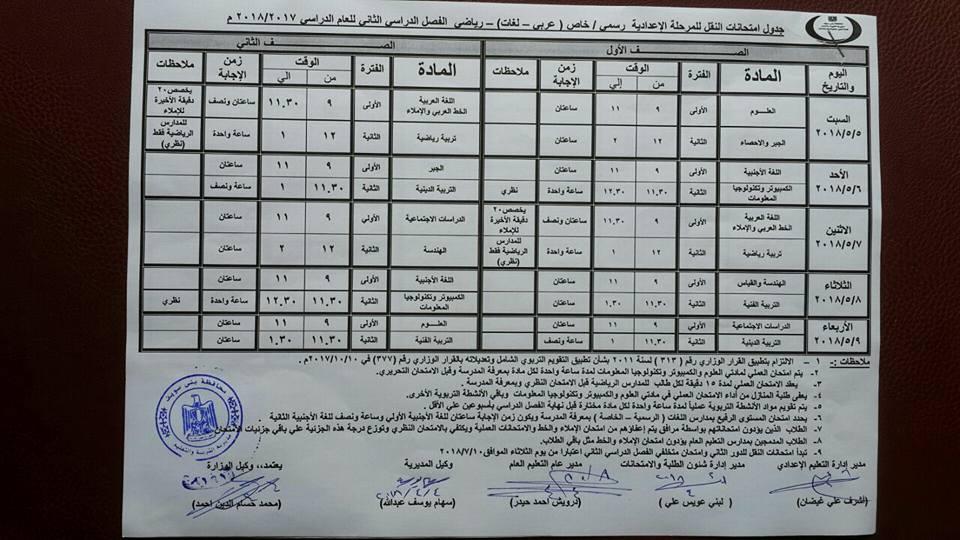 جدول امتحانات محافظة بني سويف 2018 آخر العام الصف الأول والثاني الاعدادي