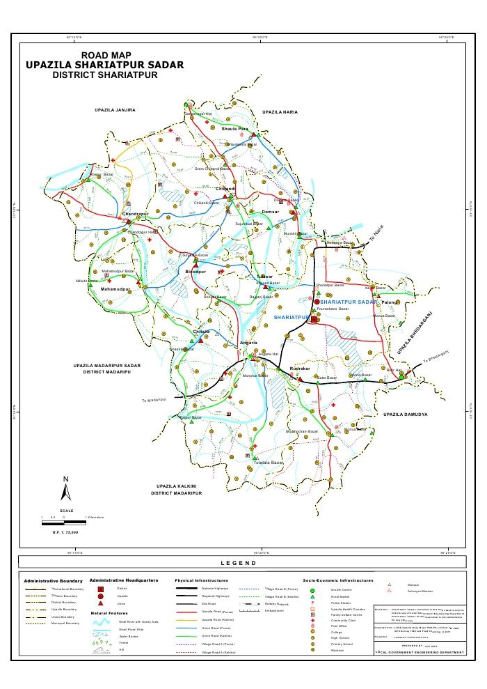 Shariatpur Sadar Upazila Road Map Shariatpur District Bangladesh