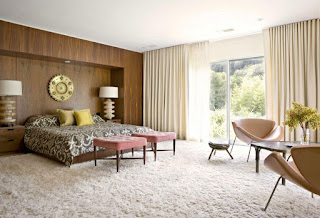 feminine beige curtain drapes sliding glass door plus fluffy area rug and swan chairs for spacious bedroom ideas