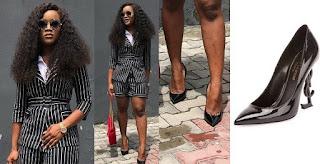PHOTOS: Cee-C is all shades of classy as she rocks N348,000 black YSL-Heel Pump