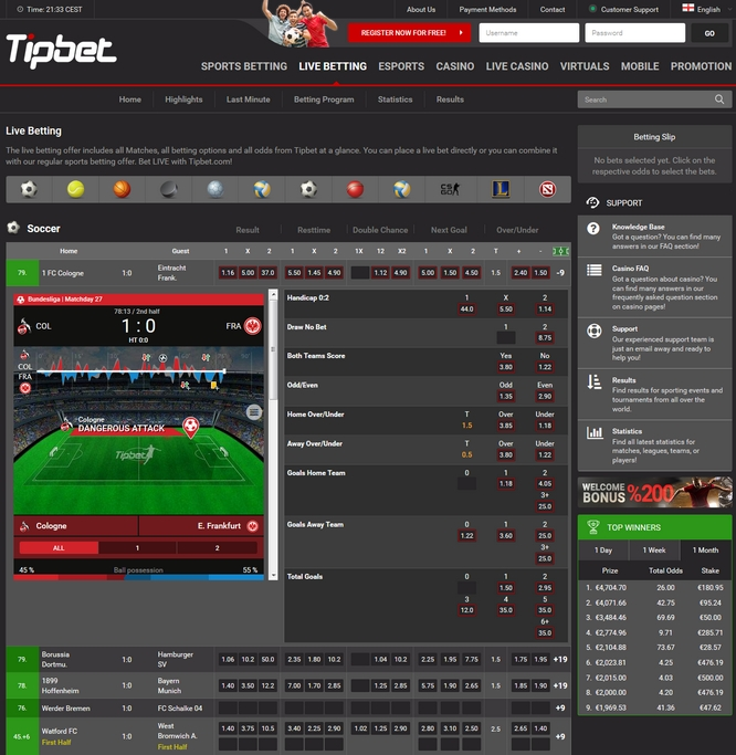 Tipbet Live Betting Screen