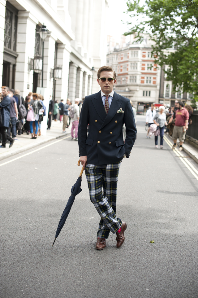 Men with plaid pants street style