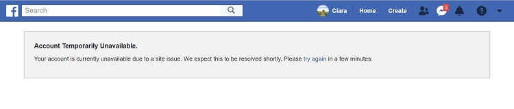 Facebook Account Temporary Unavailable