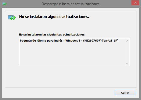 descargar paquete idiomas error KB2607607