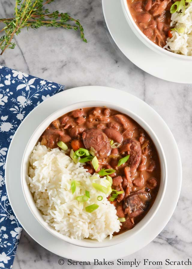 Red Beans and Rice recipe with ham hock and andouille sausage is the perfect stick to your bones warm you up dinner from Serena Bakes Simply From Scratch.