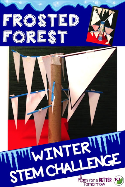 "WINTER STEM Challenge: In Frosted Forest, students aim to build the ""iciest"" tree possible in their class's Frosted Forest!  This challenge is all about triangles and has a VERY wide range of difficulty options. Comes with modifications for grades 2-8."