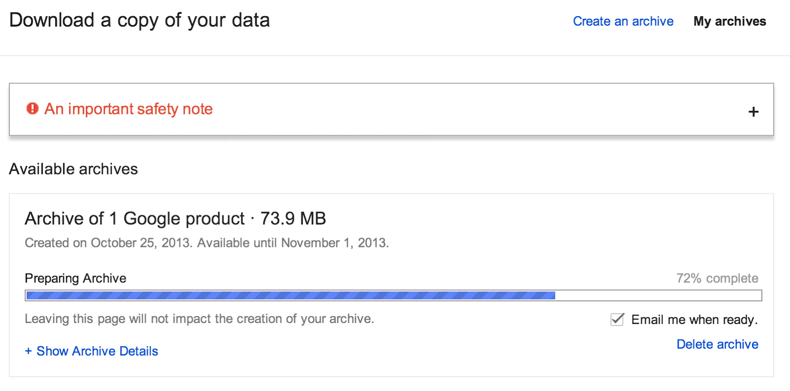 Download all your google drive data with one click educational 2 the download time depends on the volume of data you have in your drive but usually it just a minute or so fandeluxe Choice Image