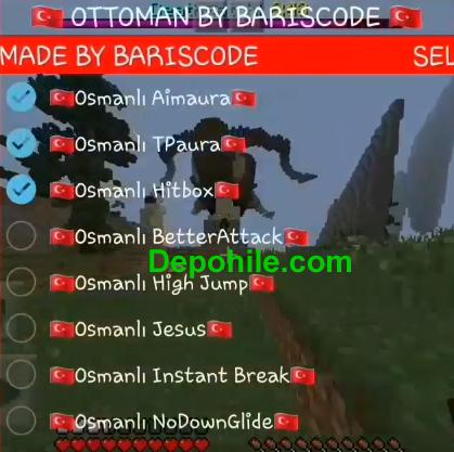 Minecraft PE 1.7 - 1.8 Osmanlı Hack Client Süper Hileler 2019