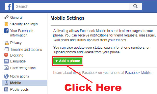 how to add mobile number in facebook