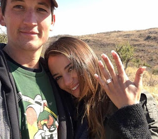 Keleigh Sperry showing her gorgeous diamond ring Miles Teller gave for engagement