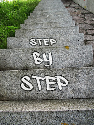 looking down a concrete outside staircase, with the words 'Step By Step' written graffiti-style on three of the steps