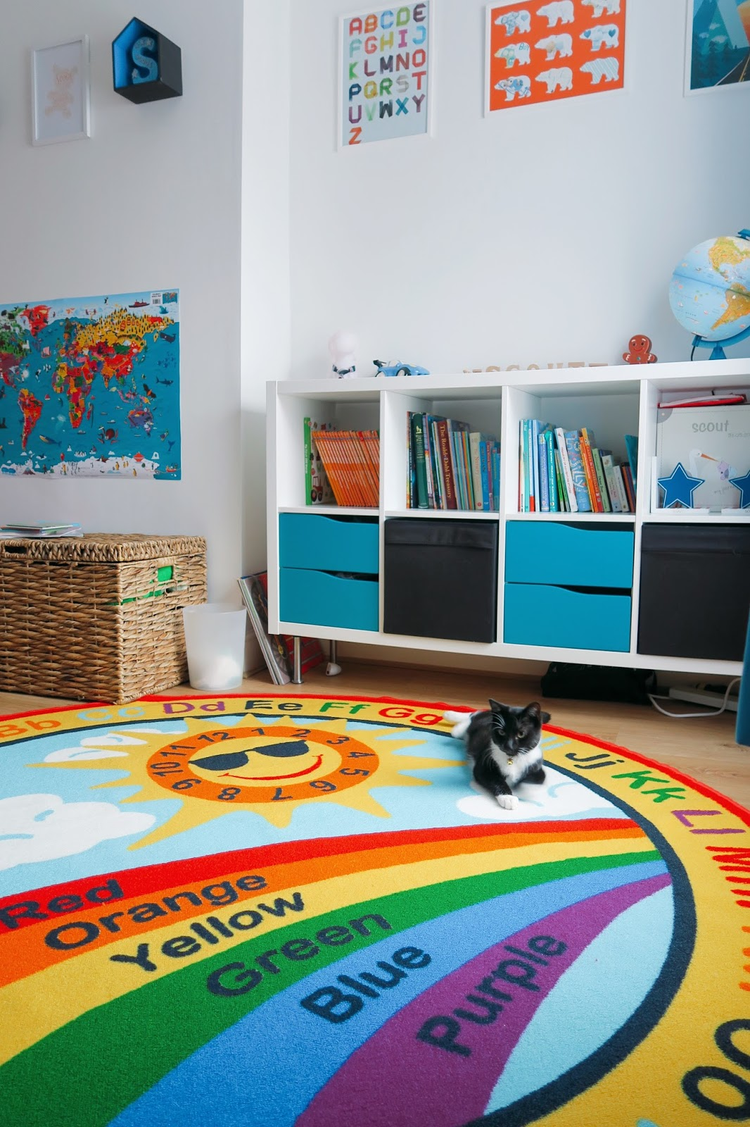 A rainbow, alphabet themed bedroom for our three year old