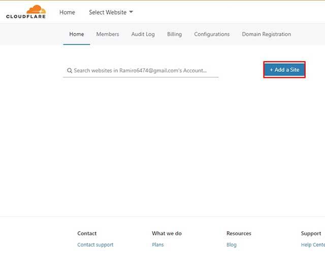 añadir un sitio web en cloudflare