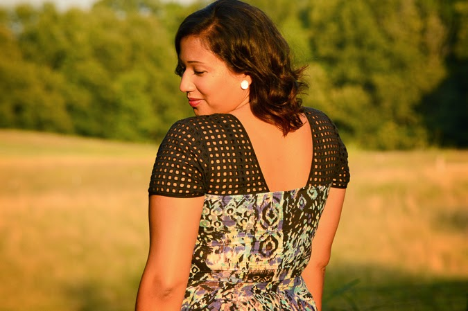 Printed dress with cut out back and perforated sleeves